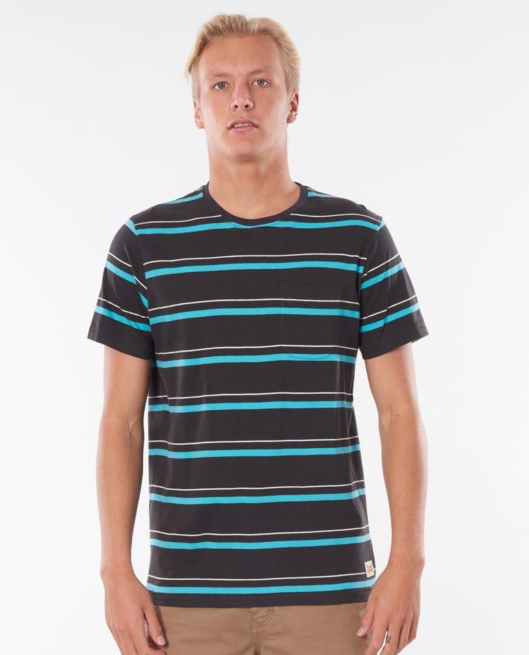 Saltwater Culture Aurora Stripe Tee in Washed Black