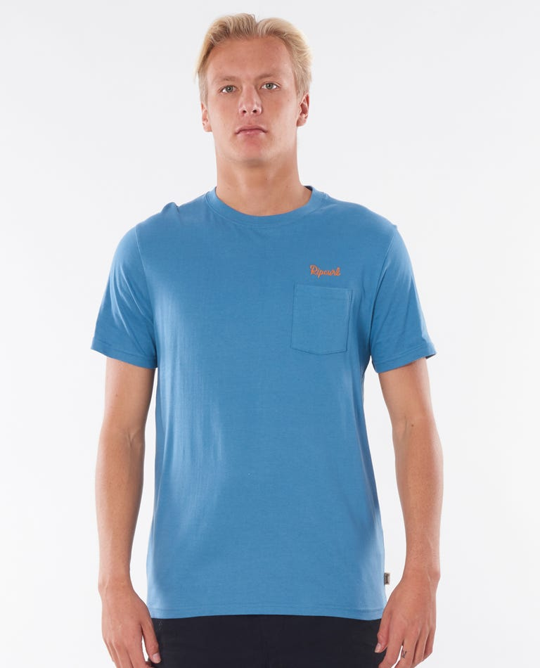 Saltwater Culture Pocket Tee in Dusty Blue