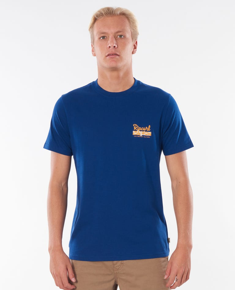 Saltwater Culture Strip Tee in Royal Blue
