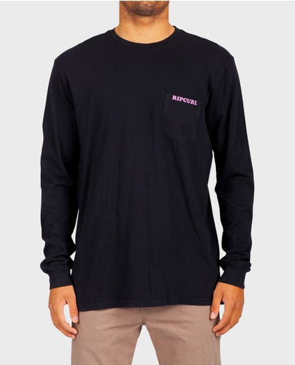 Sun Drenched Heritage Long Sleeve Tee in Black