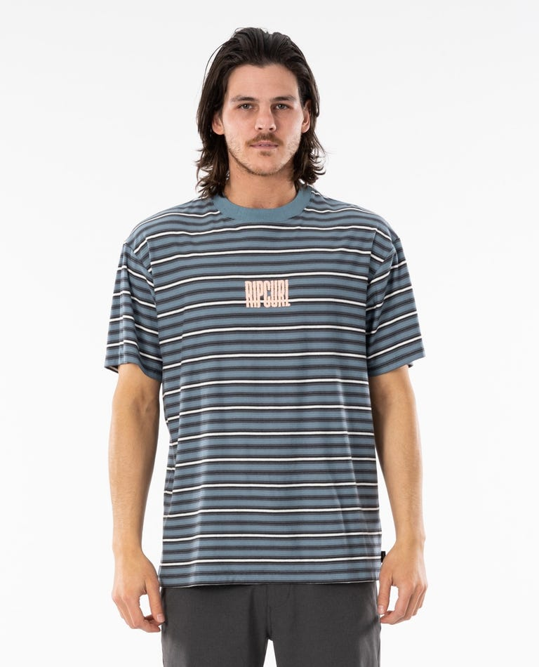 Mind Wave Stripe Tee in Mid Blue