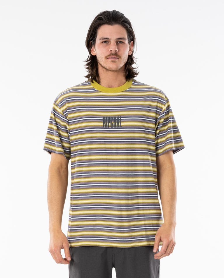 Mind Wave Stripe Tee in Washed Lime