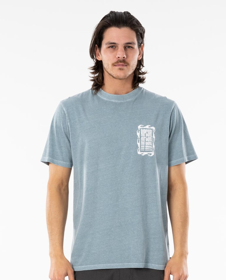 Mind Wave Collage Tee in Mid Blue