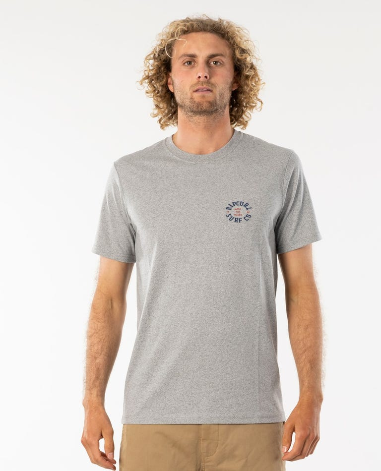 Breezy Embroid Tee in Grey Marle