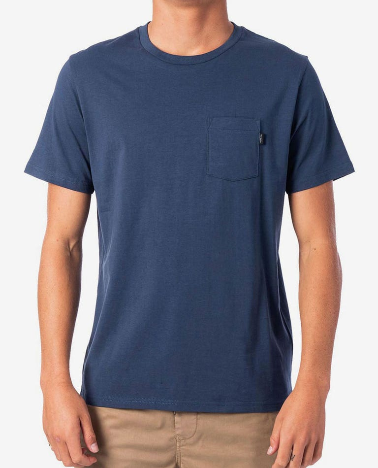 Plain Pocket Tee in Navy
