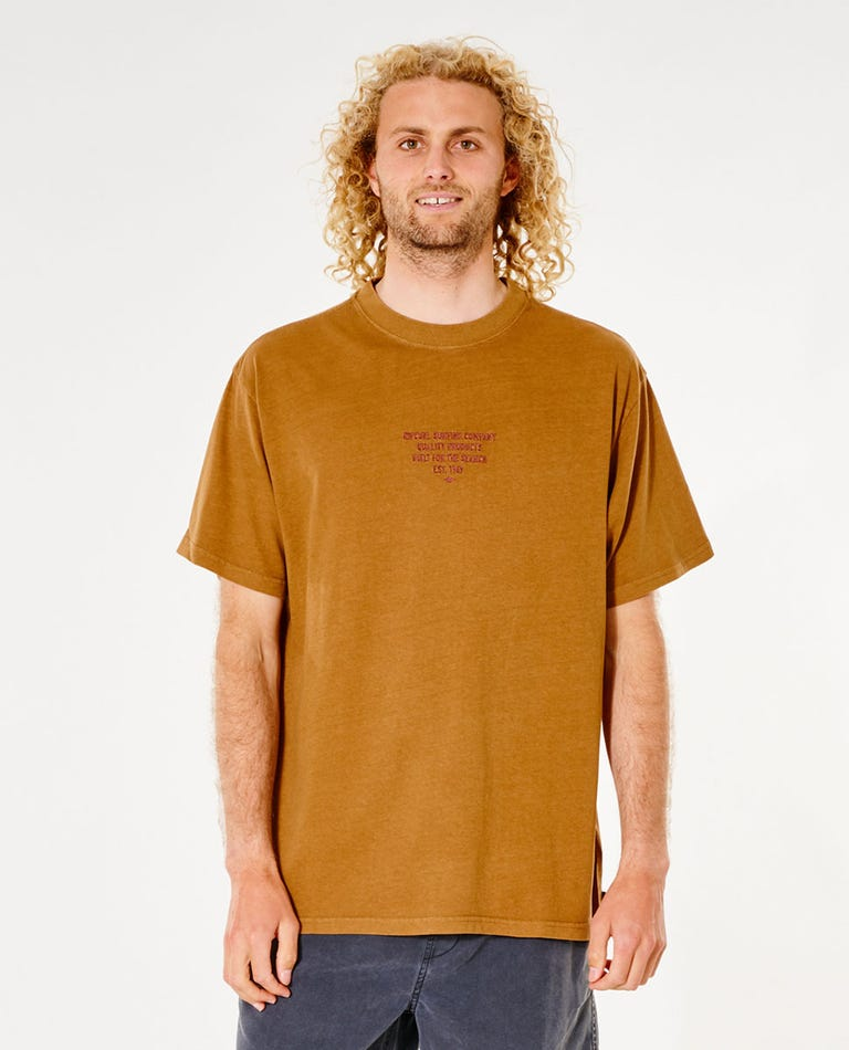 Quality Products Embroid Tee in Gold
