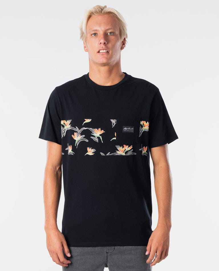 Palm Beach Panel Tee in Black