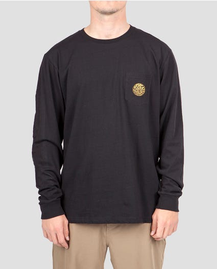 Minimalist Premium Long Sleeve Pocket Tee in Black