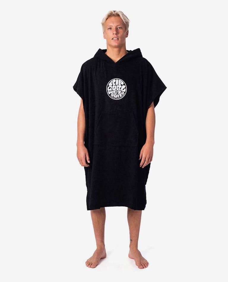 Wet As Hooded Towel in Black
