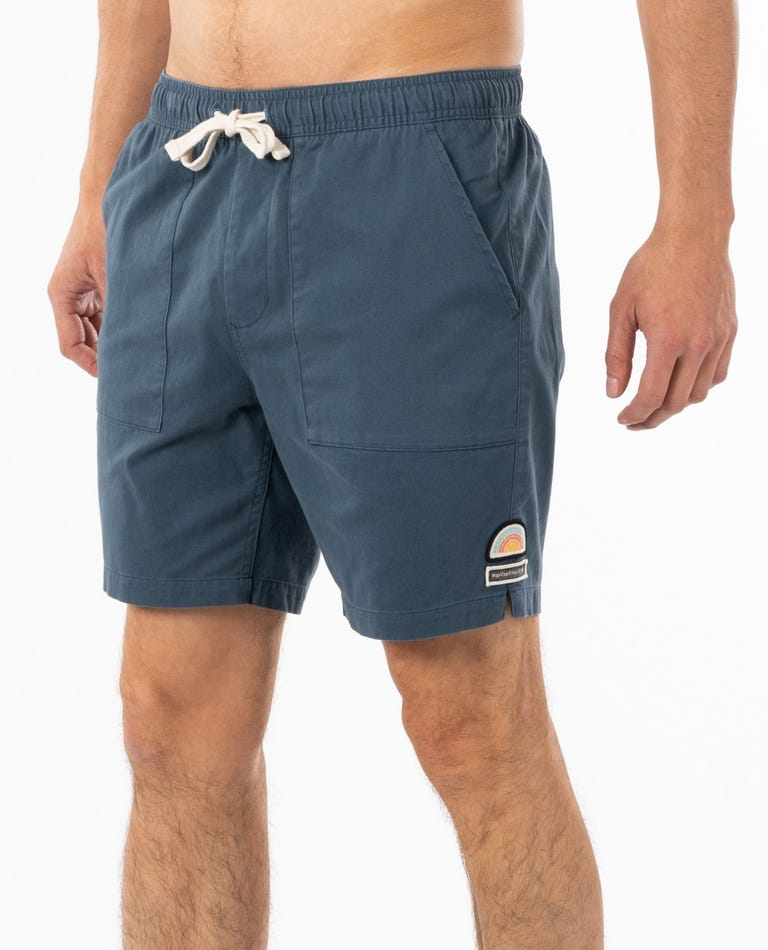 Saltwater Culture Elastic Waist Short in Washed Navy