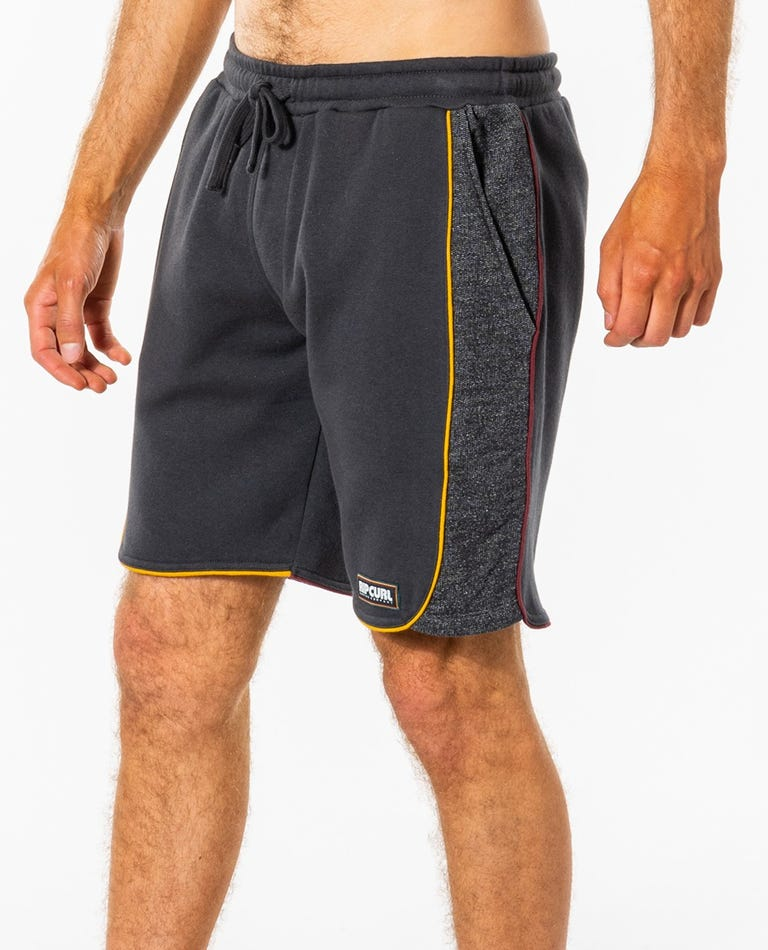 Surf Revival Piping Volley Short in Washed Black