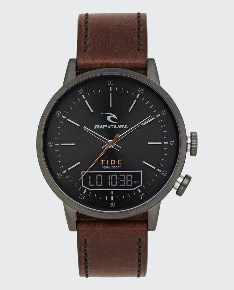 Drake Tide Digital Leather Watch in Gunmetal