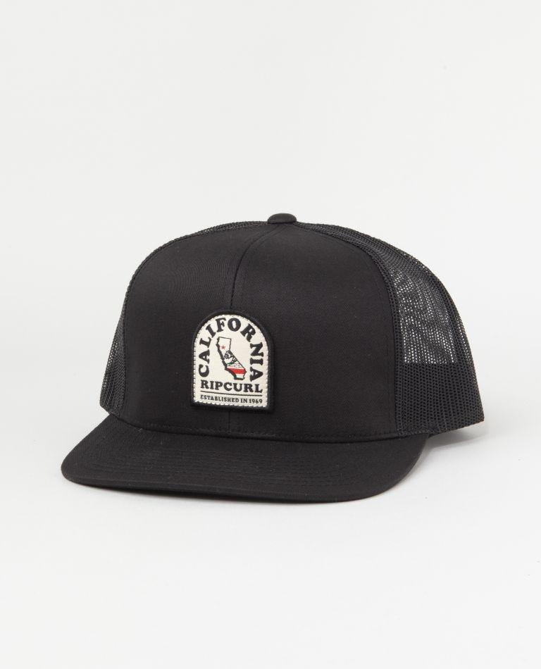 Destination Patch Trucker Hat in Black