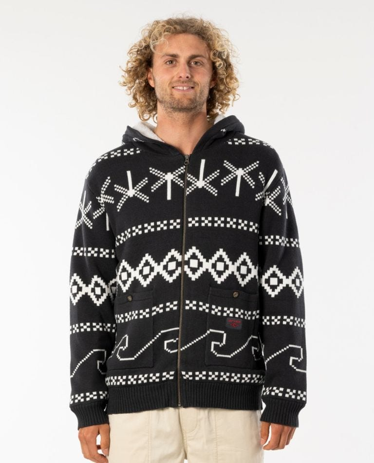 Campus Knit Hood in Washed Black