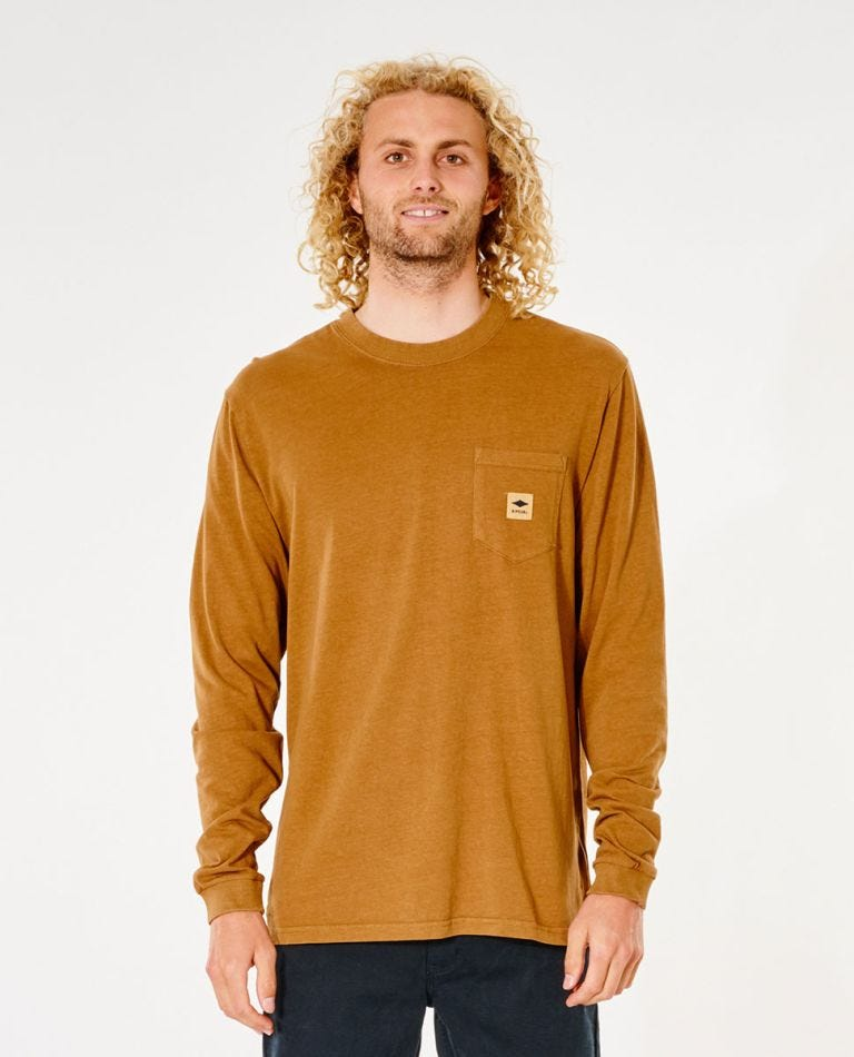 Quality Products Pocket Long Sleeve Tee in Gold