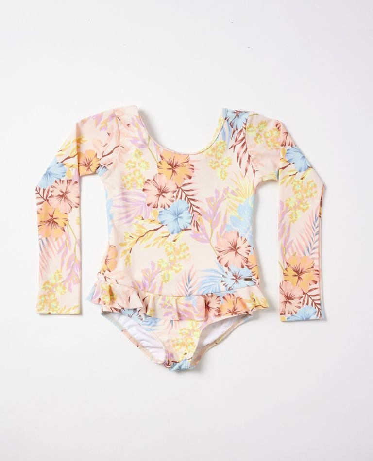 Aloha Surf Long Sleeve One Piece Girls (0-7 years) in Light Pink