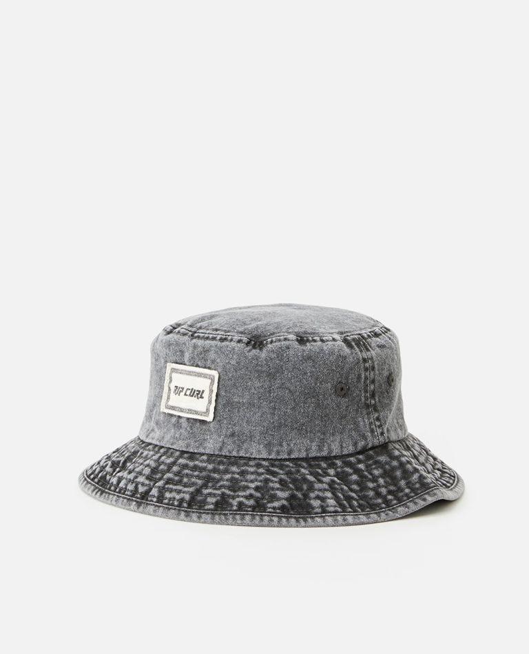 Slant Bucket Hat in Washed Black