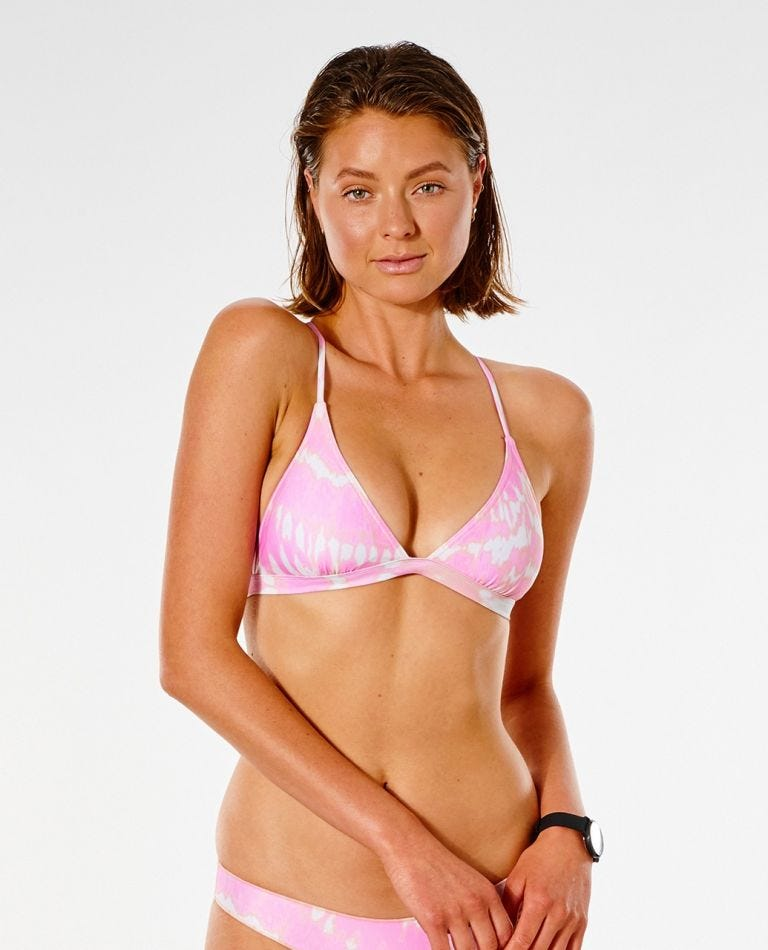 Classic Surf Eco Crossback Tri Bikini Top in Pink
