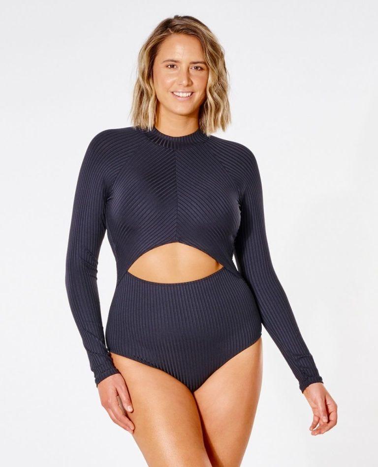 Premium Surf Good Long Sleeve One Piece in Black