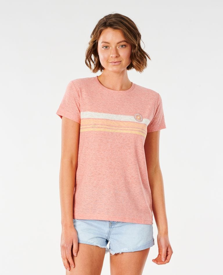 Blossom Stripe Tee in Clay