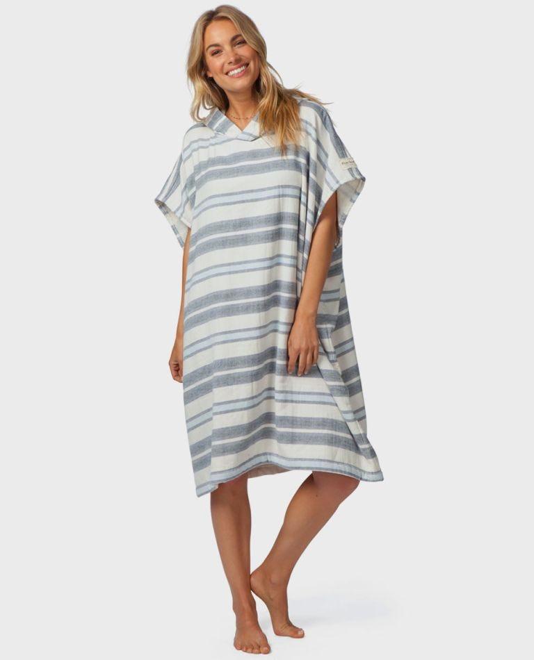Marley Stripe Hooded Towel in Blue