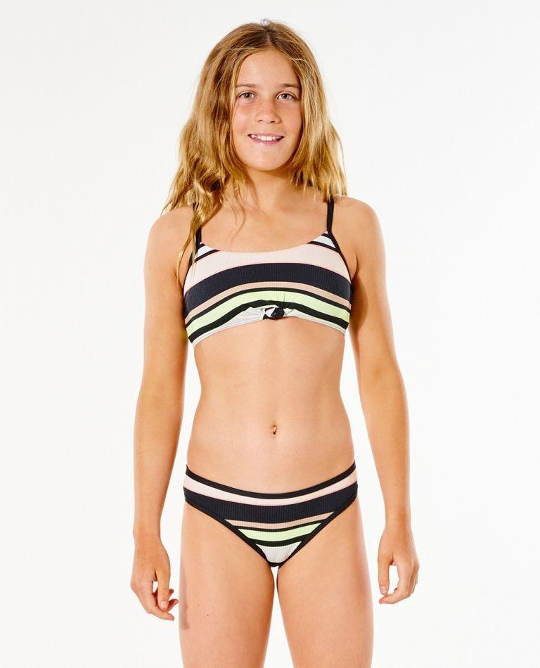 Twin Fin Stripe Bikini - Girl (8-16 years) in Black
