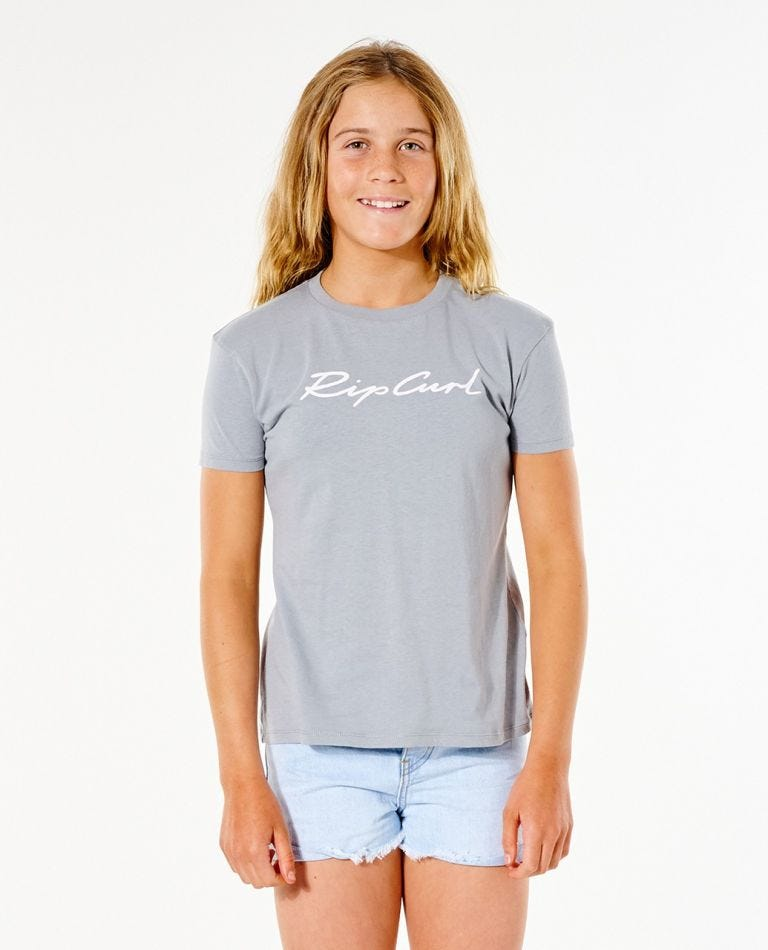 Sunset Waves Tee - Girl (8-16 years) in Blue Grey