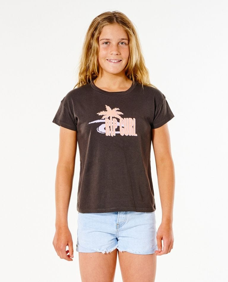 Twin Fin Crop Tee - Girl (8-16 years) in Washed Black