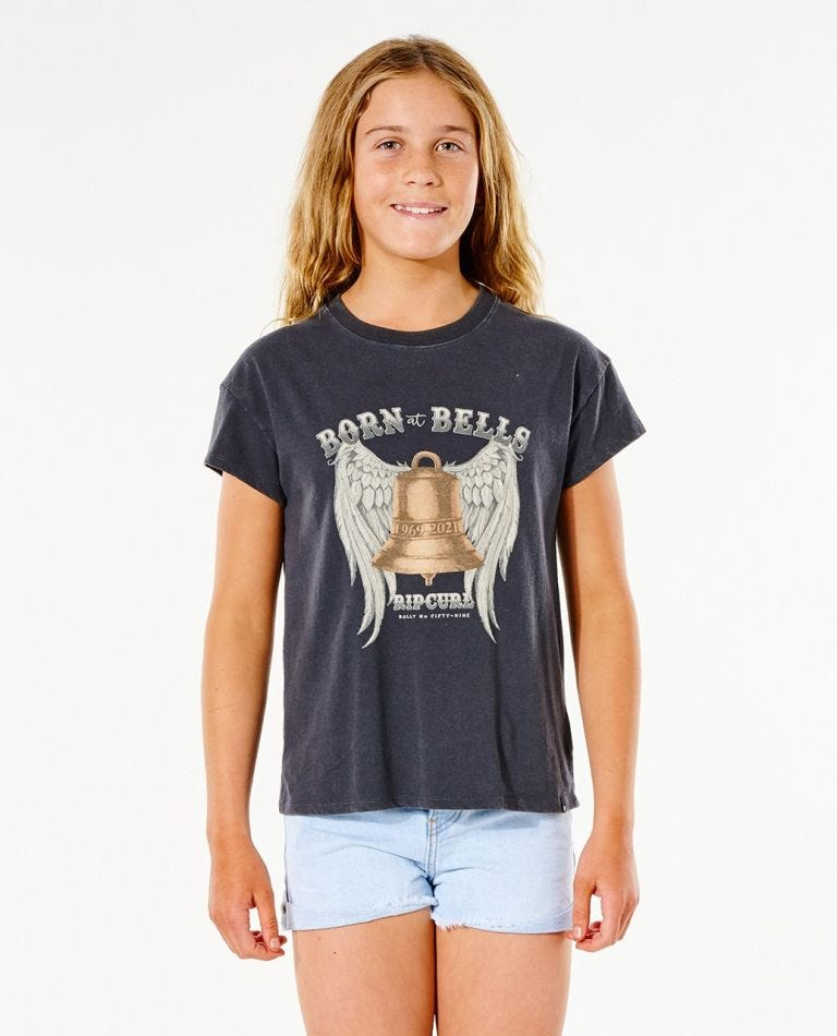 Born At Bells Tee (8 - 16 years) in Washed Black
