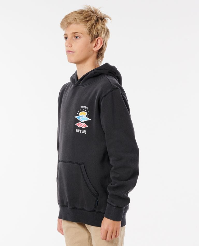 Boys Search Icon Hood in Washed Black