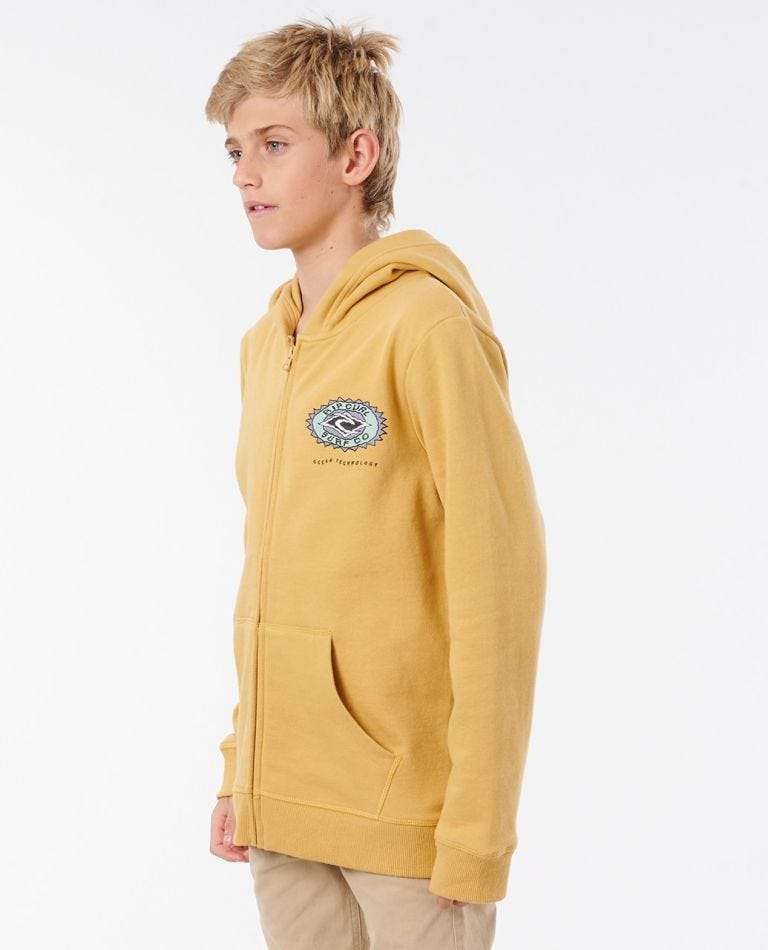 Ocean Sun Zip Thru Hood - Boys (8 - 16 years) in Mustard