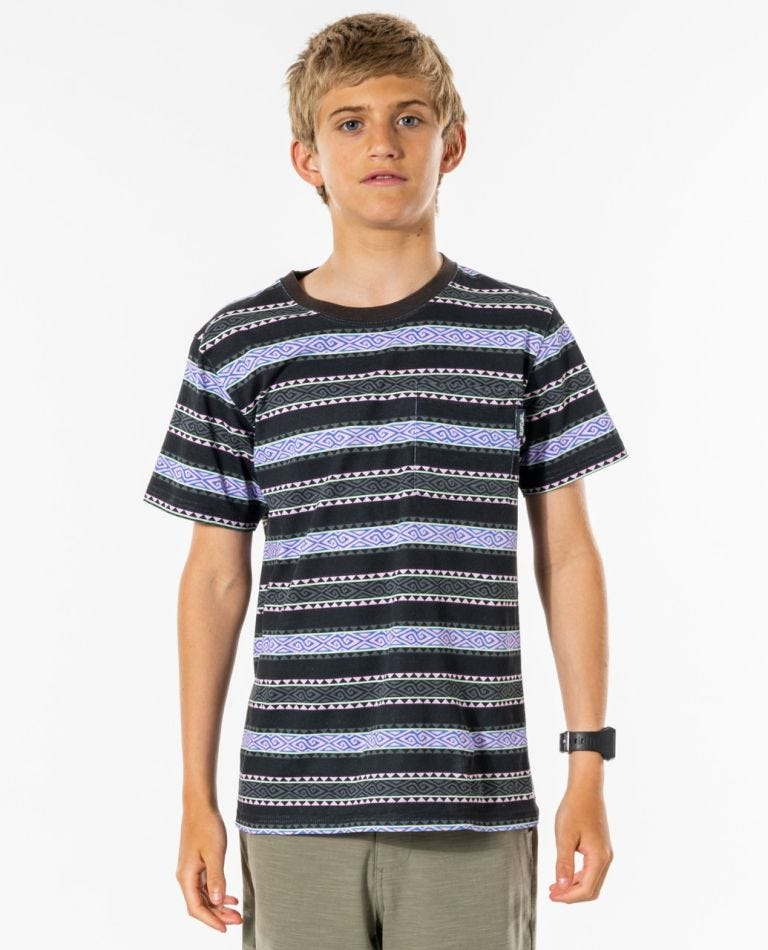 Melting Summer Stripe Tee - Boys (8-16 years) in Washed Black