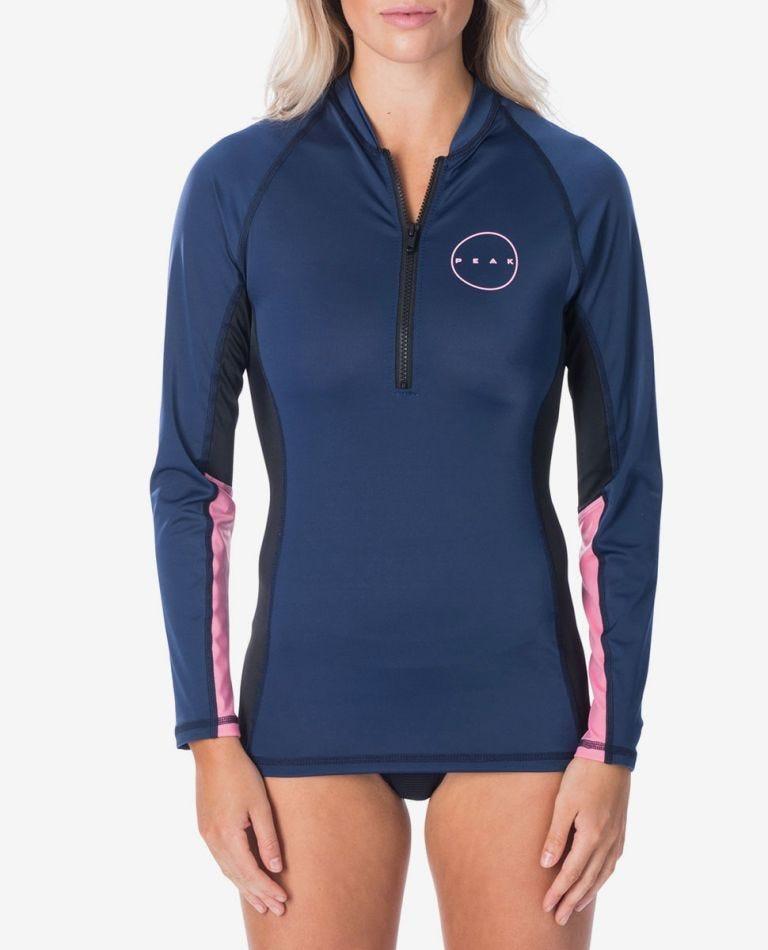 Ladies 1/4 Zip Long Sleeve UV Tee in Navy