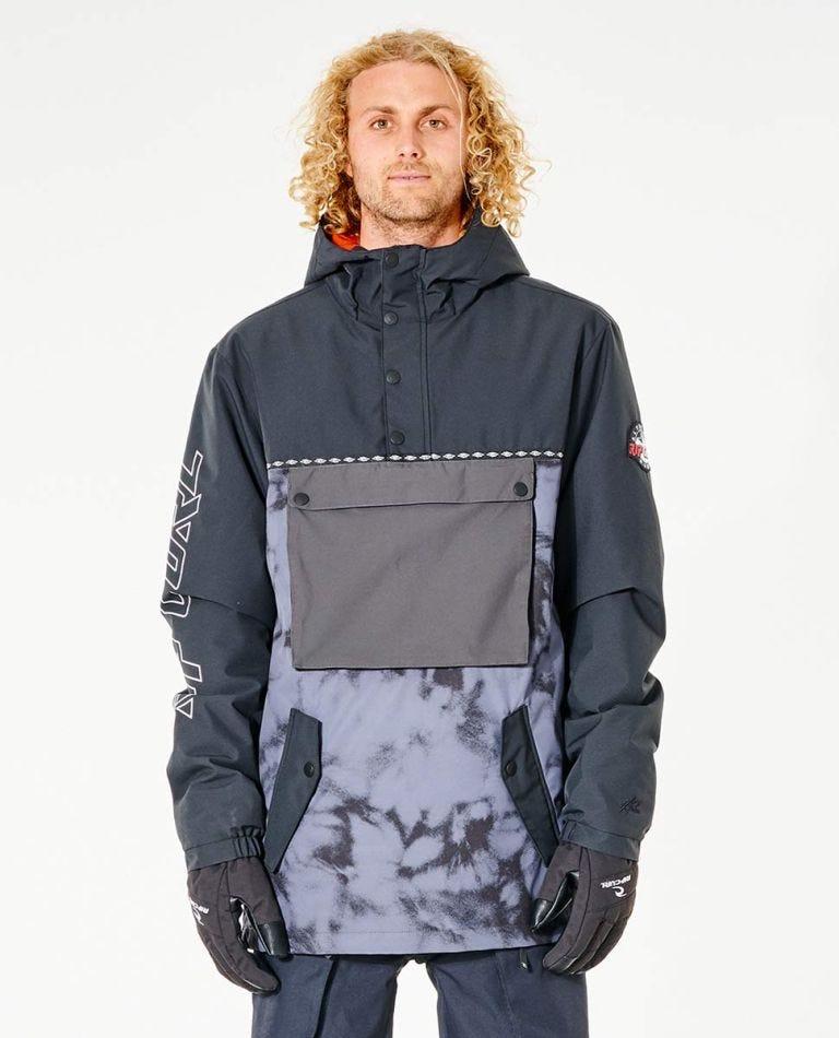 Pow Pow Mountainwear Snow Jacket in Black/Grey