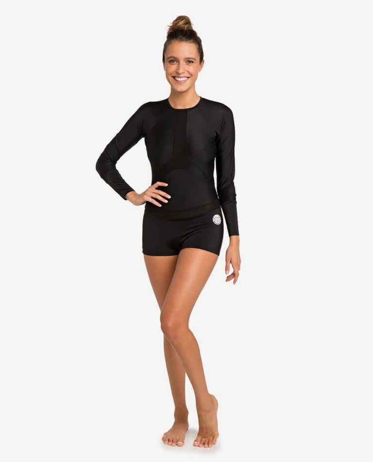 Boyleg Long Sleeve UV Surfsuit Rash Vest in Black