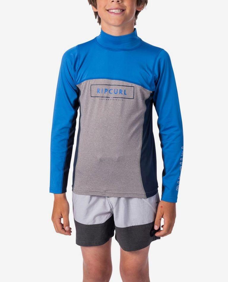 Underline Blade Long Sleeve UV Tee Rash Vest - Boys in Blue