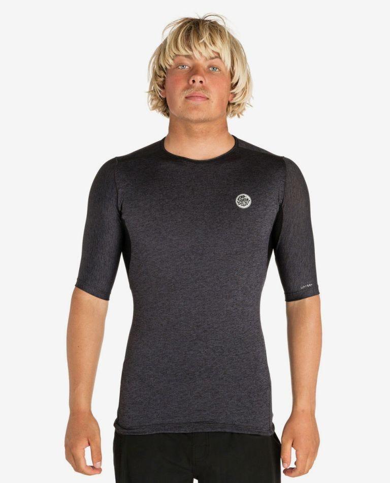 Tech Bomb Short Sleeve UV Tee Rash Vest in Charcoal Marle