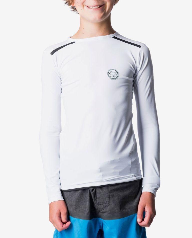 Tech Bomb Long Sleeve UV Tee Rash Vest - Boys in White