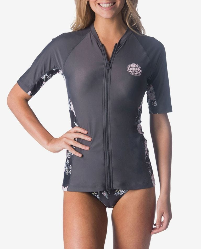 Nalu Zip Thru Short Sleeve UV Tee Rash Vest in Dark Grey