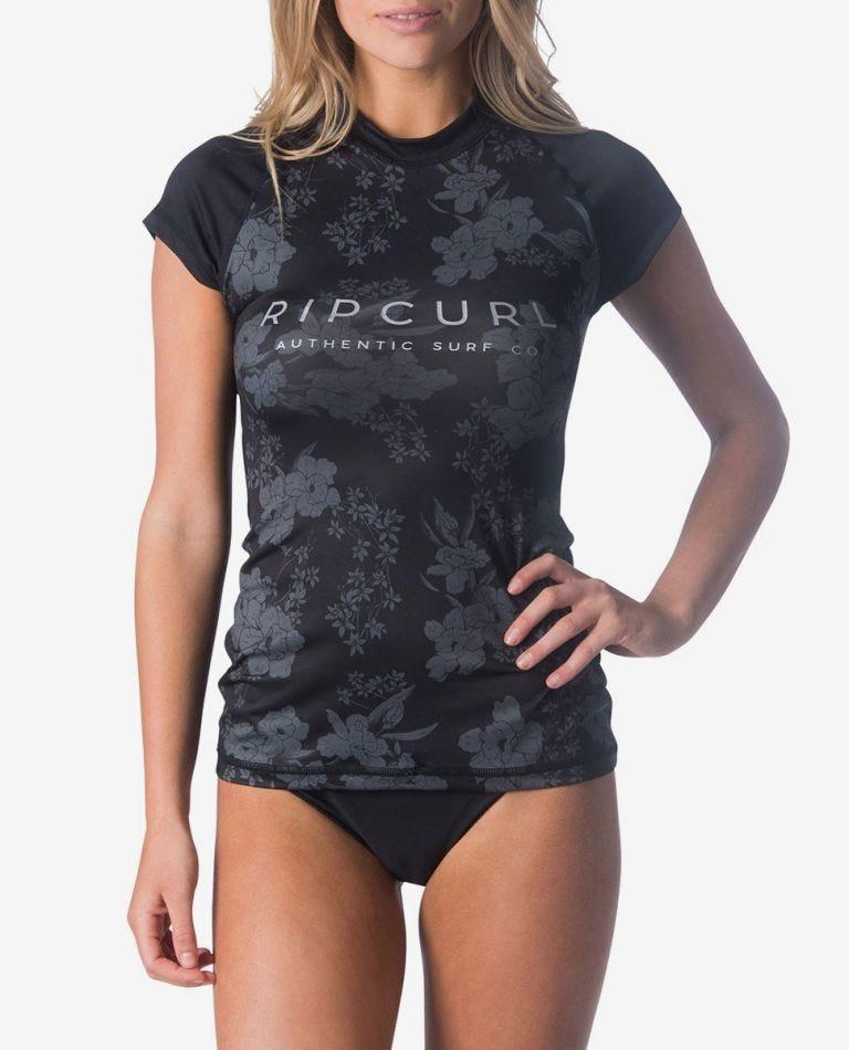 Nalu Surf Cap-Sleeve UV Tee Rash Vest in Black