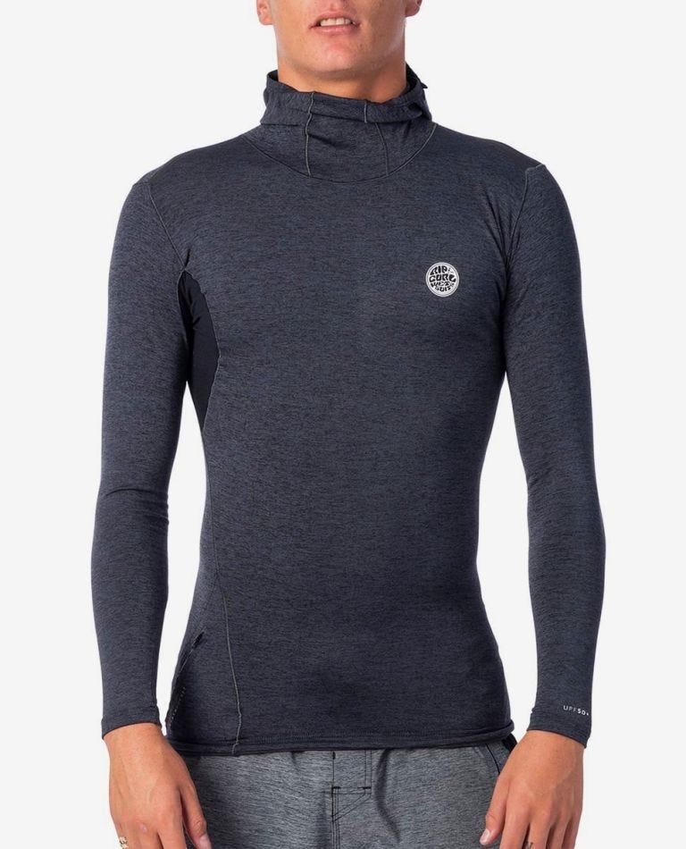 Tech Bomb Long Sleeve UV Tee Rash Vest Hood in Charcoal Marle