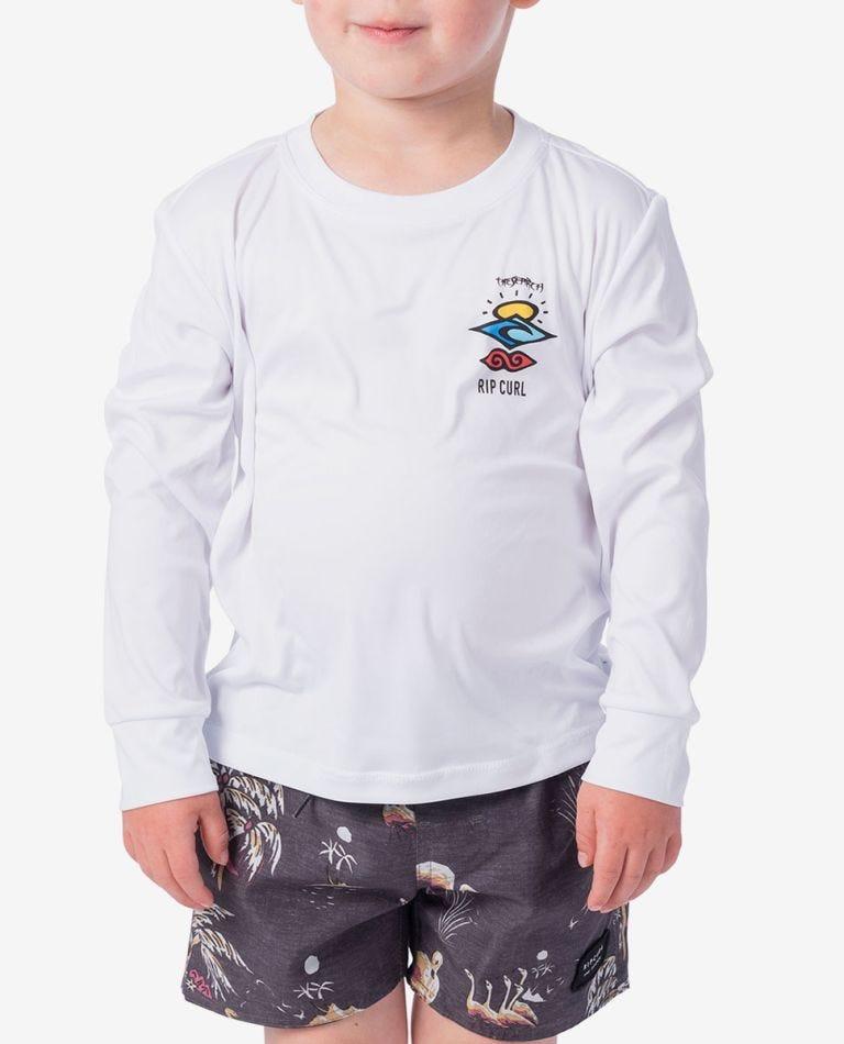 Grom Search Logo Long Sleeve UV Tee Rash Vest in White