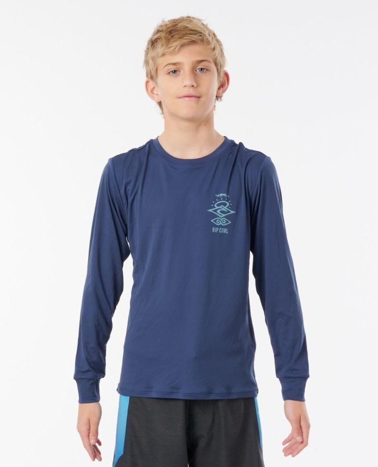 Boys Search Logo Long Sleeve UV Tee Rash Vest in Navy