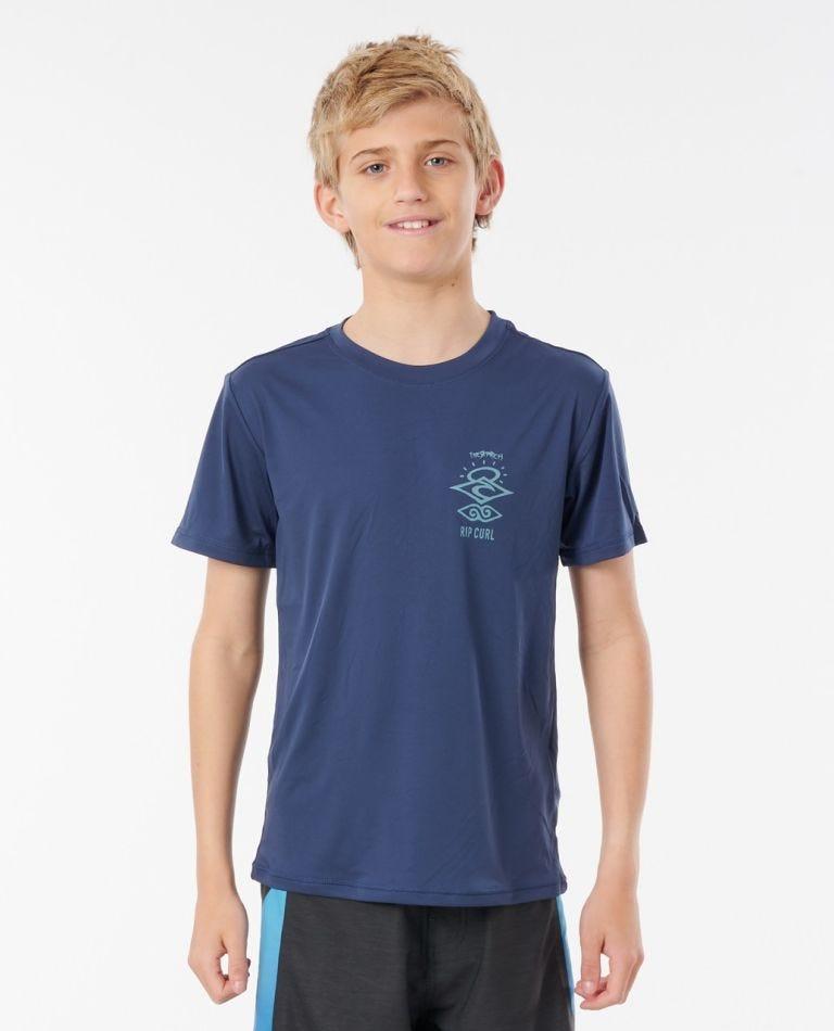 Boys Search Logo Short Sleeve UV Tee Rash Vest in Navy