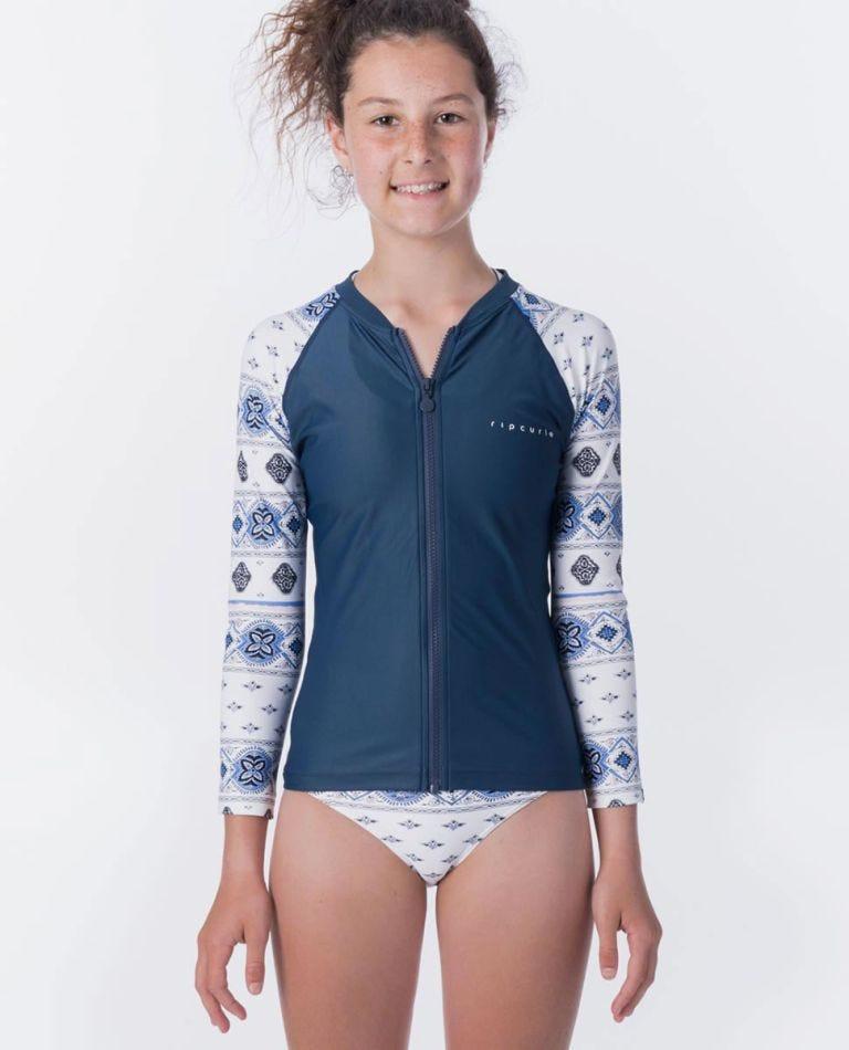 Girls Island Time Zip Long Sleeve UV Tee Rash Vest in White