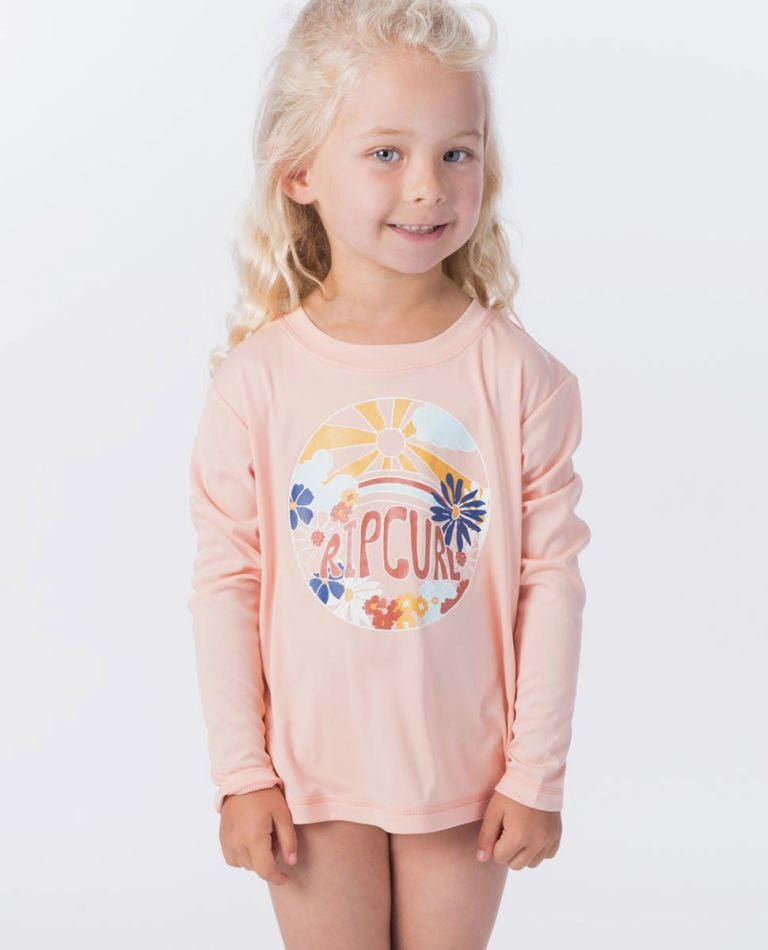 Mini Island Loving Long Sleeve UV Tee Rash Vest in Peach