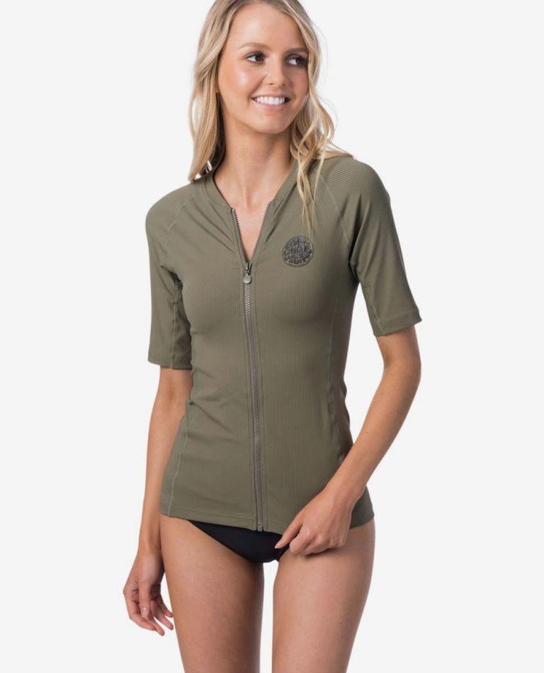 Premium Rib Zip Thru Short Sleeve UV Tee Rash Vest in Olive