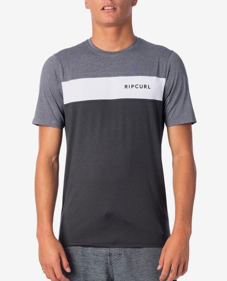 Underline Panel Short Sleeve UV Tee Rash Vest in Charcoal Grey