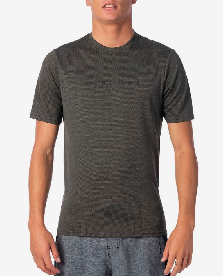 Valley Tech Short Sleeve UV Tee Rash Vest in Olive
