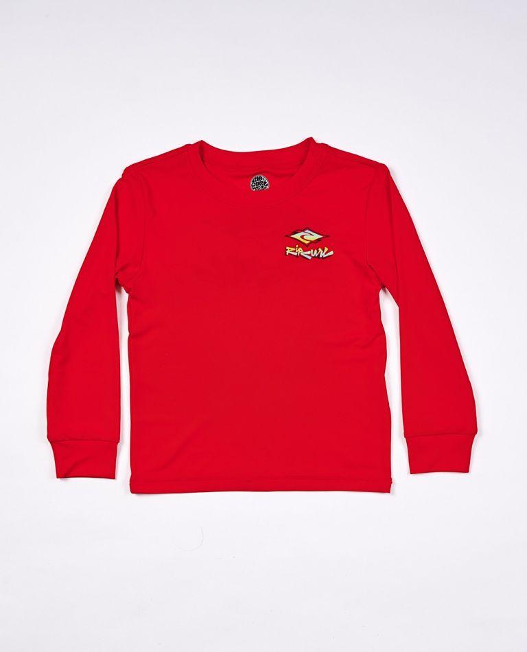 Diamond Fade Long Sleeve UV Tee Rash Vest Boys (0 - 6 years) in Red